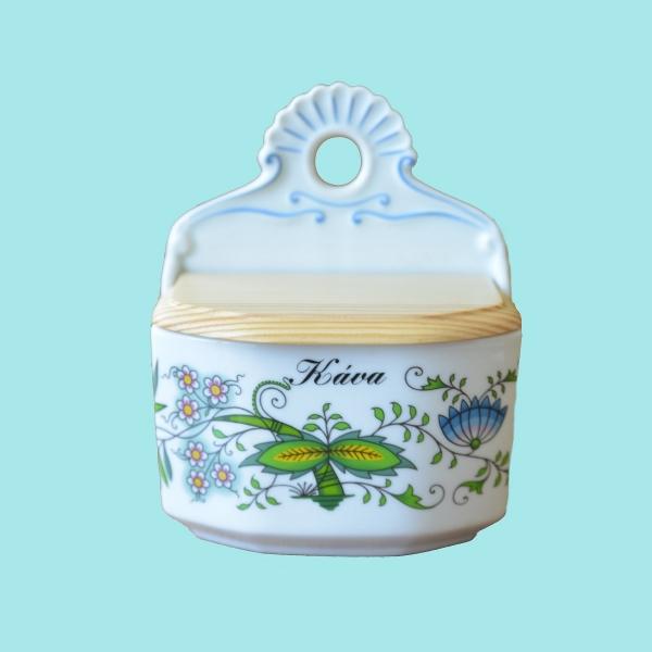 Slánka závěsná s dřevěným víkem a s nápisem 0,70 l NATURE barevný cibulák, cibulový porcelán Dubí