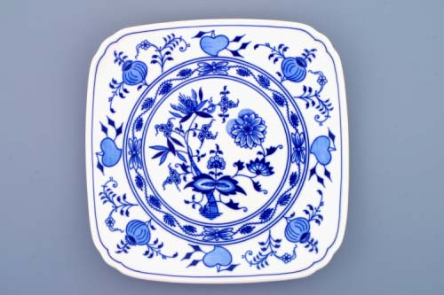 cibulák talíř hranatý 21 cm originální český porcelán Dubí