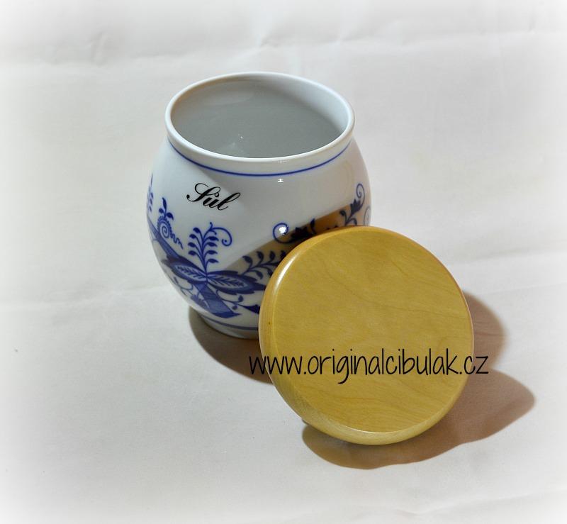 Cibulák dóza Baňák s dřevěným uzávěrem Diachrom sypký 10 cm originální český porcelán Dubí