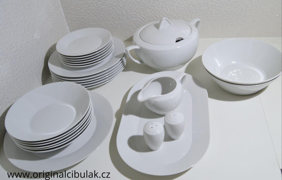 jídelní souprava Lea bílý porcelán Thun 6 osob 26 dílů český porcelán Nová Role