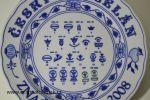 cibulák talíř s ochrannými známkami továrna Dubí český porcelán