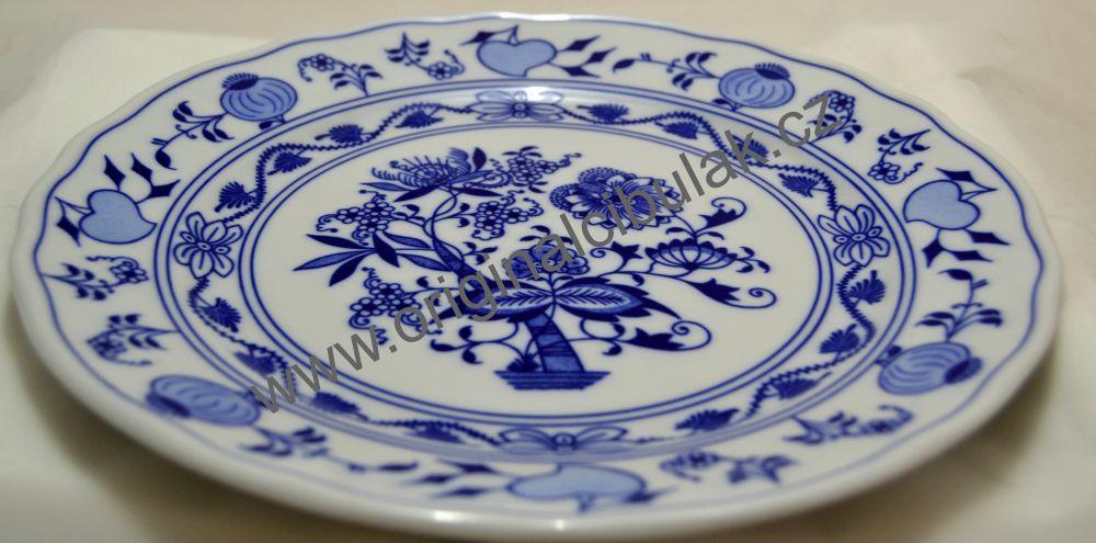 Cibulák talíř mělký 26cm - originální cibulový porcelán Dubí 1.jakost