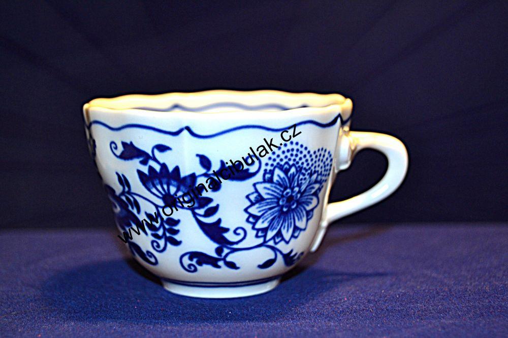 Cibulák šálek vysoký A, 0,08 l, originální cibulákový porcelán Dubí, cibulový vzor, 1.jakost