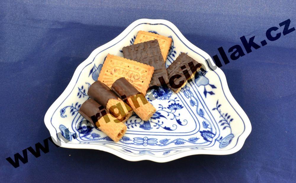 Cibulák mísa salátová tříhranná 19,5 cm originální cibulákový porcelán Dubí, cibulový vzor, 1.jakost