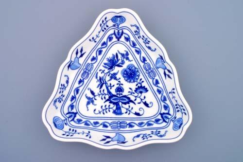 Cibulák mísa salátová tříhranná 24 cm originální cibulákový porcelán Dubí, cibulový vzor, 1.jakost 10056