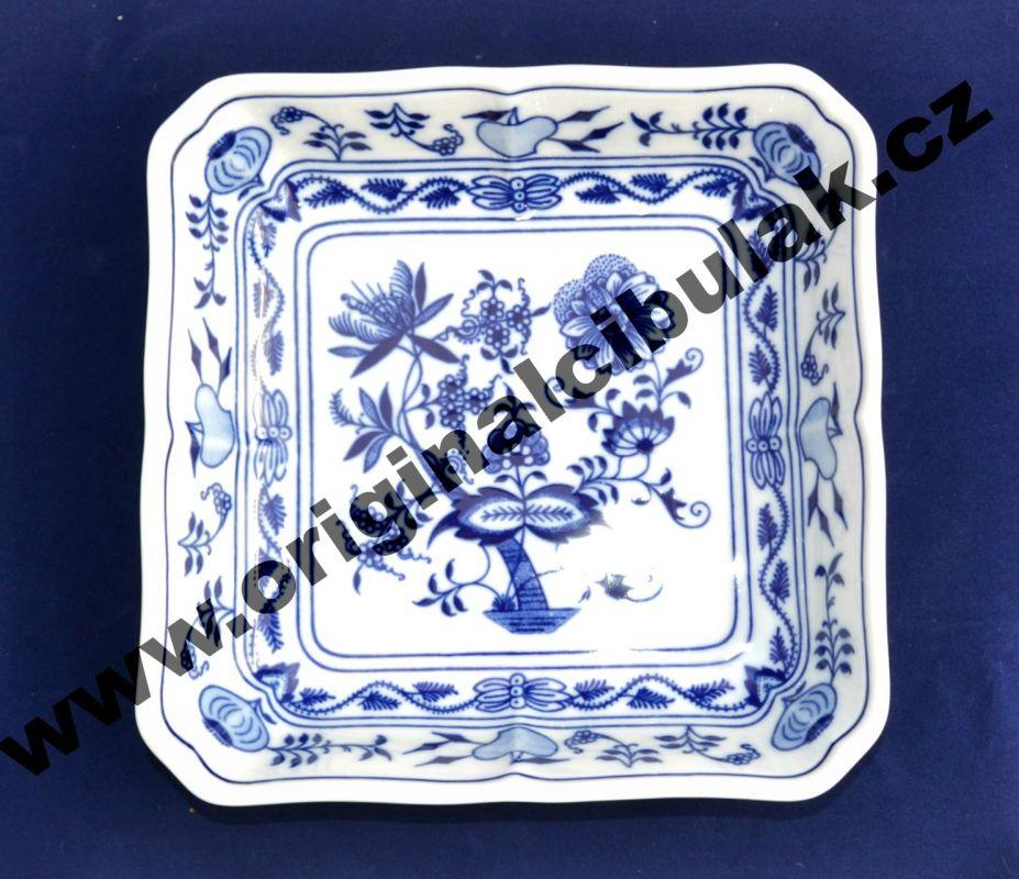 Cibulák mísa salátová čtyřhranná 18 cm originální cibulákový porcelán Dubí, cibulový vzor, 1.jakost 10057