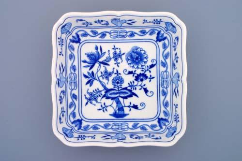 Cibulák mísa salátová čtyřhranná 24 cm originální cibulákový porcelán Dubí, cibulový vzor, 1.jakost
