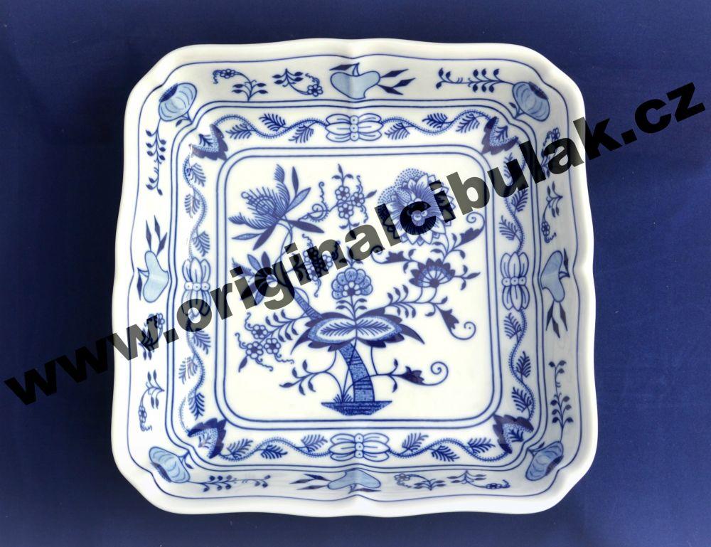 Cibulák mísa salátová čtyřhranná 24 cm originální cibulákový porcelán Dubí, cibulový vzor, 1.jakost 10059