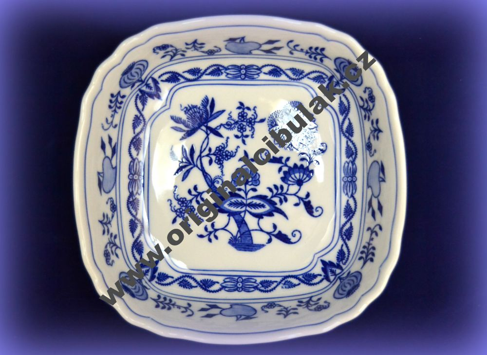 Cibulák mísa salátová čtyřhranná italská 19 cm originální cibulákový porcelán Dubí, cibulový vzor, 1.jakost 10063