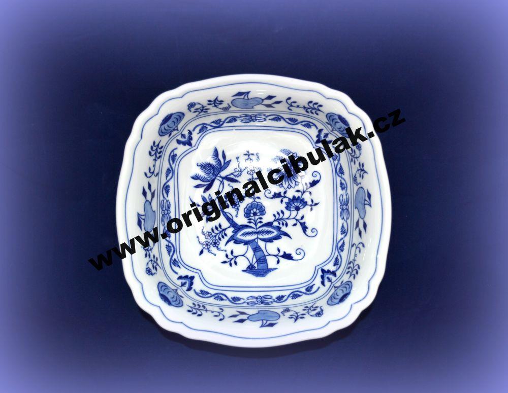 Cibulák mísa salátová čtyřhranná italská 21 cm originální cibulákový porcelán Dubí, cibulový vzor, 1.jakost 10064