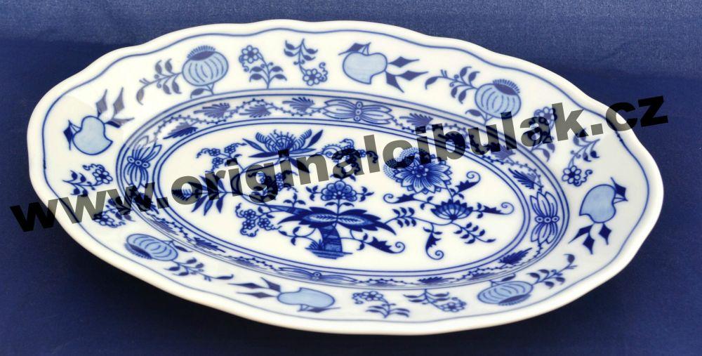 Cibulák mísa oválná 24 cm, originální cibulákový porcelán Dubí, cibulový vzor, 1.jakost