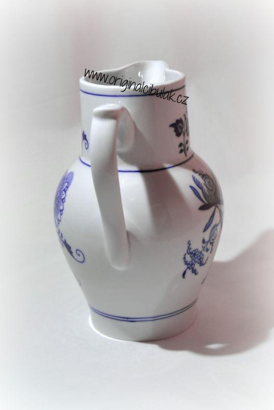 Cibulák džbán vysoký 1,50 l, originální cibulákový porcelán Dubí, cibulový vzor, 1.jakost