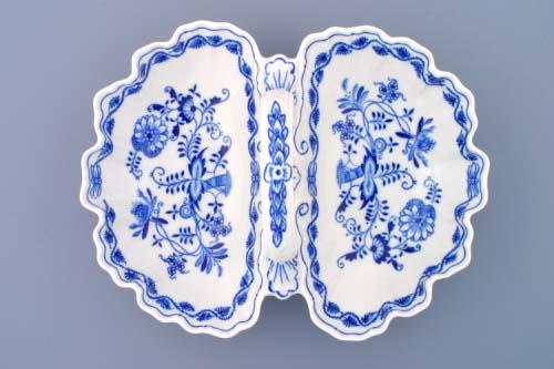 Cibulák kabaret 2-dílný 28 cm originální cibulákový porcelán Dubí, cibulový vzor, 1.jakost