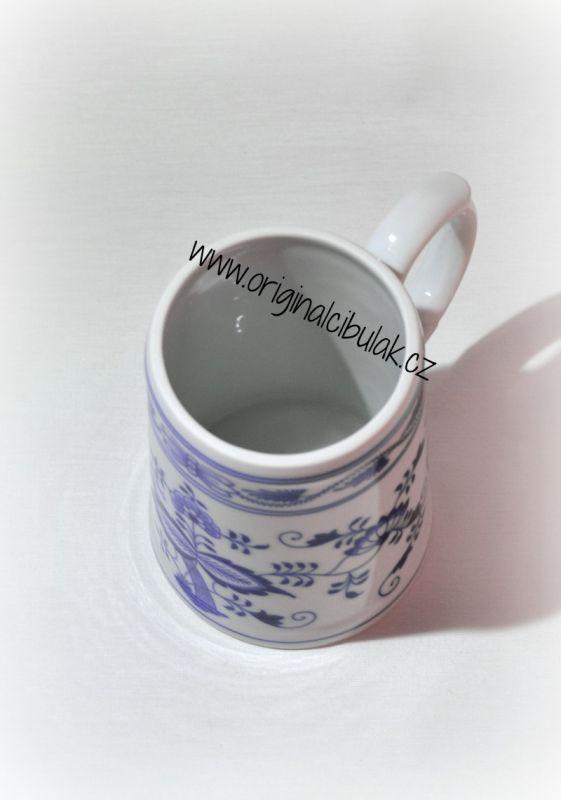 Cibulák korbel hladký, originální cibulákový porcelán Dubí, cibulový vzor, 1.jakost