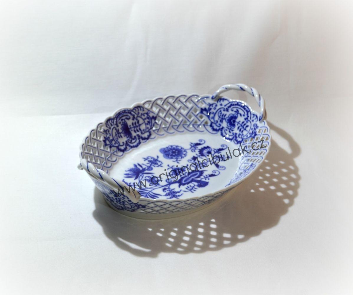Cibulák košík prolamovaný 28 cm originální cibulákový porcelán Dubí, cibulový vzor, 1.jakost