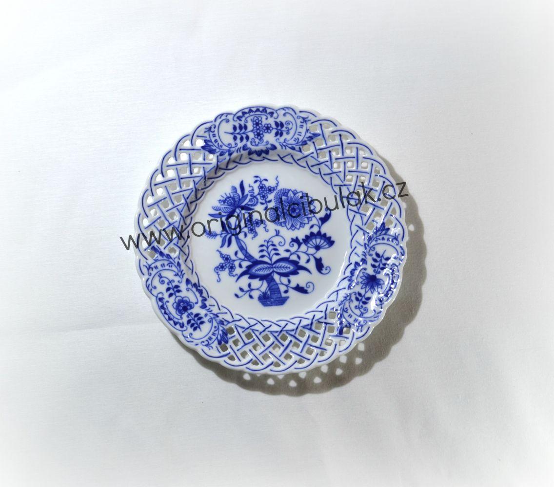 Cibulák talíř prolamovaný 18 cm originální cibulákový porcelán Dubí, cibulový vzor, 1.jakost