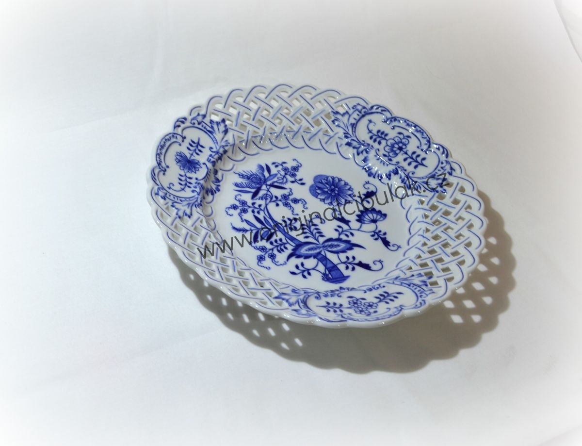 Cibulák talíř prolamovaný 27 cm originální cibulákový porcelán Dubí, cibulový vzor, 1.jakost
