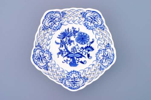 Cibulák mísa pětihranná prolamovaná 19 cm originální cibulákový porcelán Dubí, cibulový vzor, 1.jakost