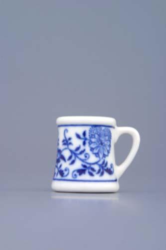 Cibulák korbel mini 3 cm originální cibulákový porcelán Dubí, cibulový vzor, 1.jakost