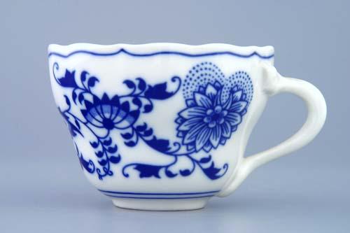 Cibulák šálek vysoký A/2, 0,17 l originální cibulákový porcelán Dubí, cibulový vzor, 1.jakost