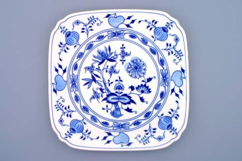 Cibulák talíř hranatý 29 cm originální cibulákový porcelán Dubí, cibulový vzor, 1.jakost
