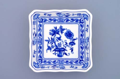 Cibulák mísa salátová čtyřhranná 15 cm originální cibulákový porcelán Dubí, cibulový vzor, 1.jakost