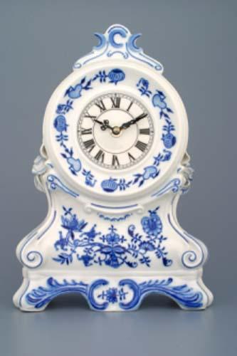 AKCE-25%Cibulákové Krbové hodiny s růžemi se strojkem 28 cm cibulový porcelán, originální cibulák Dubí 1. jakost, pravý cibulák 10345