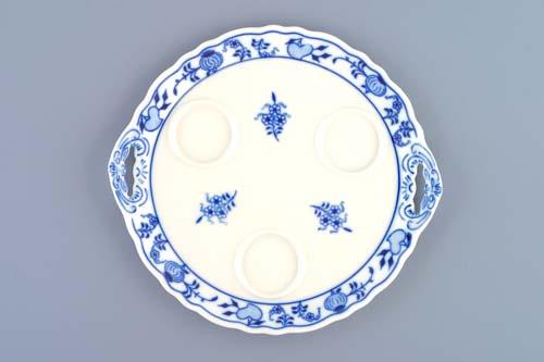 Cibulák podnos kulatý pod 3 karafky 20,5 cm originální cibulákový porcelán Dubí, cibulový vzor, 1.jakost