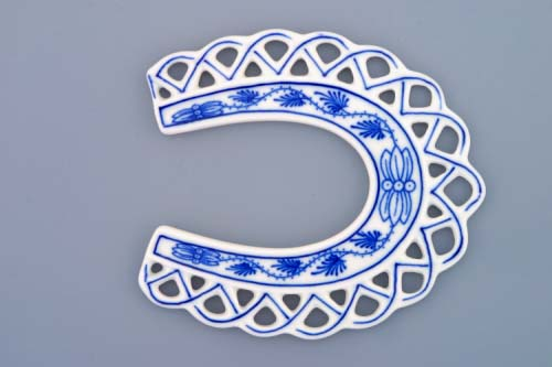 Cibulák Vánoční ozdoba podkova 10,5 cm originální cibulákový porcelán Dubí, cibulový vzor, 1.jakost 10365