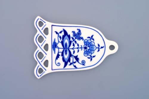 Cibulák vánoční ozdoba zvonek 10,5 cm originální cibulákový porcelán Dubí, cibulový vzor, 1.jakost 10379
