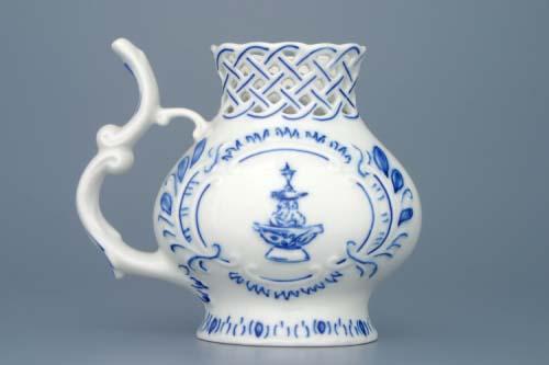 Cibulák pohárek lázeňský prolamovaný Teplice 12 cm originální cibulákový porcelán Dubí, cibulový vzor, 1.jakost