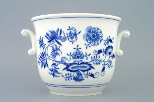 Cibulák květináč s uchy bez nožky 19 cm originální cibulákový porcelán Dubí, cibulový vzor, 1.jakost