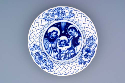 Cibulák Talíř výroční 1996 závěsný reliéfní 18 cm , originální cibulákový porcelán Dubí, cibulový vzor, 1.jakost
