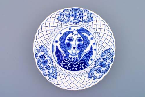 Cibulák Talíř výroční 1998 závěsný reliéfní 18 cm originální cibulákový porcelán Dubí , cibulový vzor, 1. jakost
