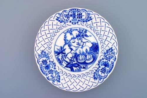 Cibulák Talíř výroční 2003 závěsný reliéfní 18 cm , originální cibulákový porcelán Dubí , cibulový vzor, 1. jakost