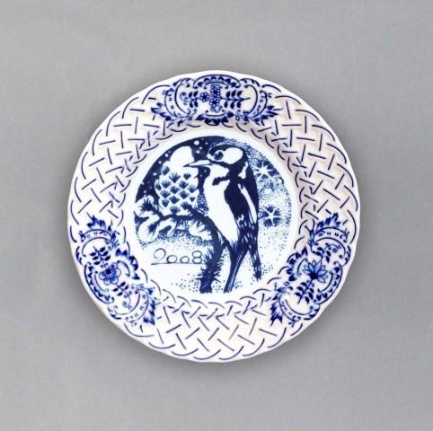 Cibulák Talíř výroční 2008 závěsný reliéfní 18 cm , originální cibulákový porcelán Dubí , cibulový vzor, 1. jakost