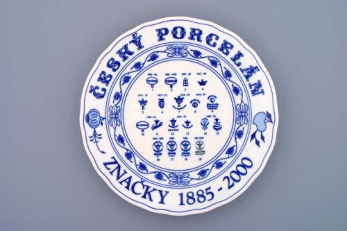 Cibulák Talíř s ochrannými značkami továrna Dubí originální cibulákový porcelán , cibulový vzor, 1. jakost