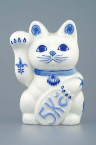 Cibulák Kočka zvací kasička 16 cm originální cibulákový porcelán Dubí, cibulový vzor, 1.jakost