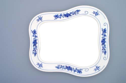Cibulák zrcadlo s rámem závěsné 40 cm originální cibulákový porcelán Dubí, cibulový vzor, 1.jakost