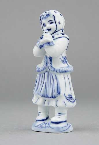 Cibulák Děvče s ptáčkem 10,8 cm originální cibulákový porcelán Dubí, cibulový vzor, 1.jakost 22278-602-1 (10568)