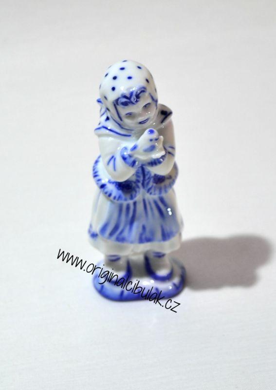 Cibulák Děvče s ptáčkem 10,8 cm originální cibulákový porcelán Dubí, cibulový vzor, 1.jakost
