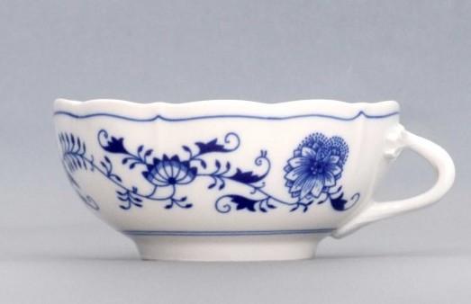 Cibulák Šálek bujón s 1 ouškem 0,30 l originální cibulákový porcelán Dubí, cibulový vzor, 1.jakost 10586