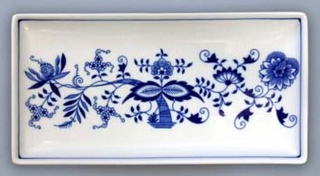 Cibulák Talíř na ryby obdelníkový 24,7 cm originální cibulákový porcelán Dubí, cibulový vzor, 1.jakost