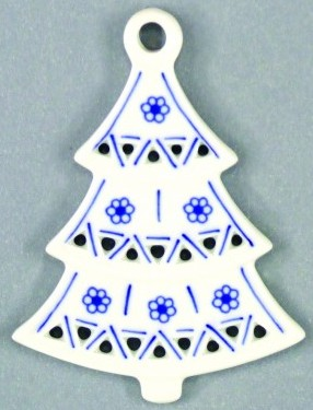 Cibulák Vánoční ozdoba stromeček prolamovaný 8,5 cm originální cibulákový porcelán Dubí, cibulový vzor, 1.jakost 10597