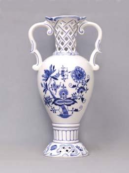 Cibulák Váza 30 cm prolamovaná 566/1, originální cibulákový porcelán Dubí, cibulový vzor, 1.jakost