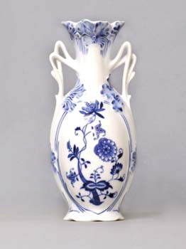 Cibulák váza 20,5 cm secesní / 11213, originální cibulákový porcelán Dubí, cibulový vzor, 1.jakost