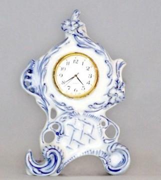 Cibulák Hodiny Vlasta se strojkem 12,6 cm originální cibulákový porcelán Dubí, cibulový vzor, 1.jakost