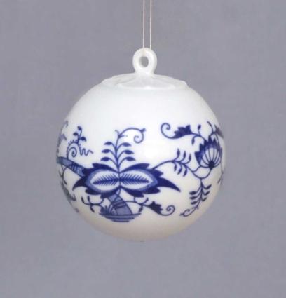 Cibulák Vánoční koulička 5,8 cm originální cibulákový porcelán Dubí, cibulový vzor 1. jakost 10635-01