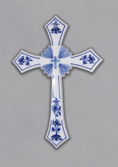 Cibulák svatý kříž (závěsný) 30,6 cm originální cibulákový porcelán Dubí, cibulový vzor 1. jakost
