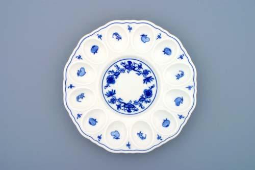 Cibulák podnos párty na vejce 24,3 cm originální cibulákový porcelán Dubí, cibulový vzor 1.jakost